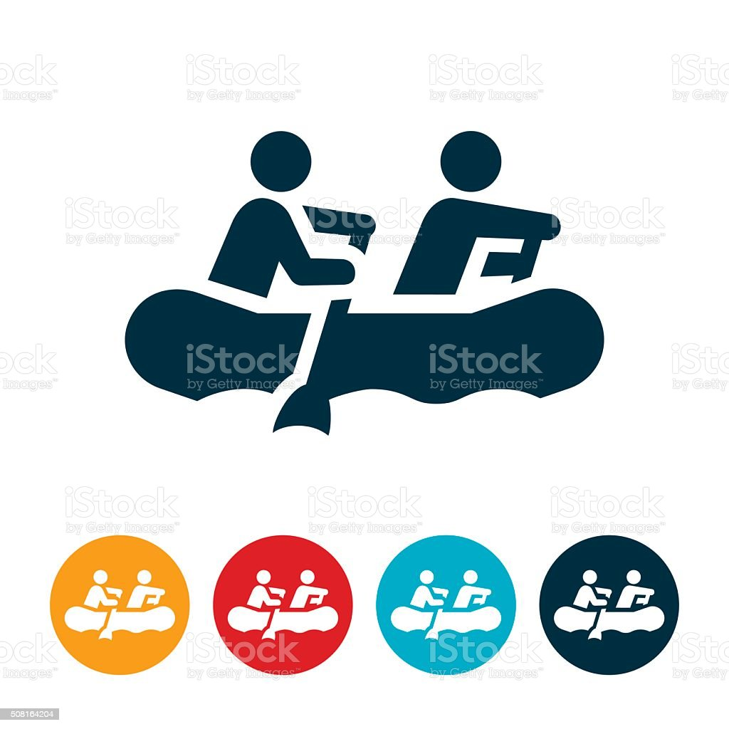 White Water Rafting Icon vector art illustration