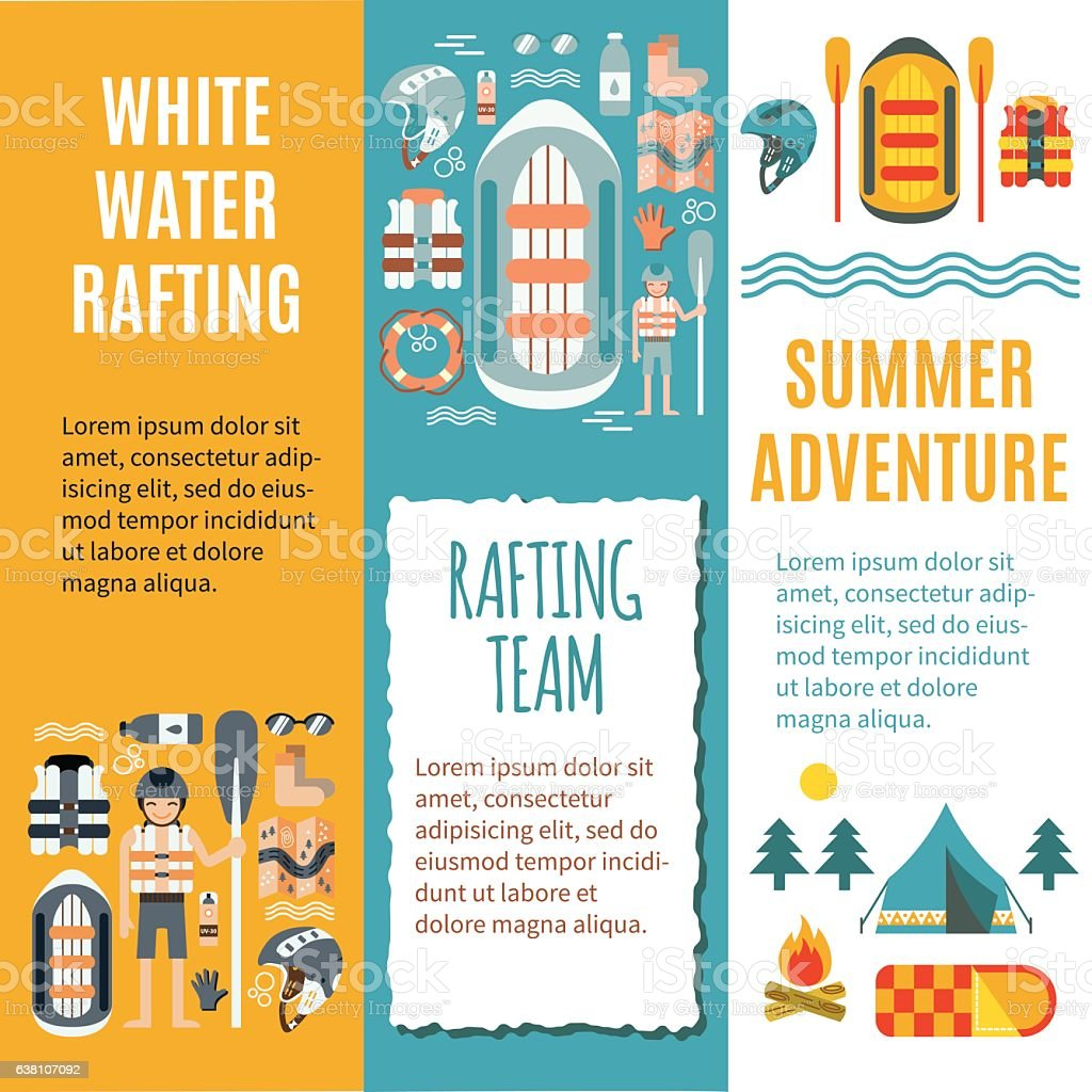 White water rafting - Set of vertical banners vector art illustration