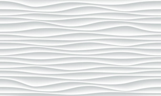 ilustrações de stock, clip art, desenhos animados e ícones de white wave pattern background with seamless horizontal wave wall texture. vector trendy ripple wallpaper interior decoration. seamless 3d geometry design - white wall