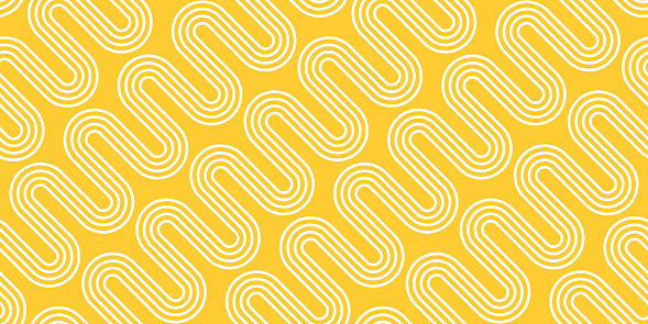 White Waves on Yellow Background. Vector Seamless Pattern. Abstract Noodle Texture
