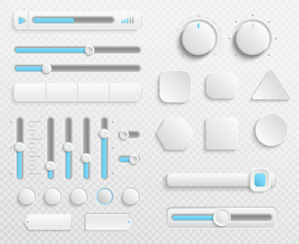 White web buttons and ui sliders vector set isolated on transparent background White web buttons and ui sliders vector set isolated on transparent background. Interface for web navigation and ui for video and music control illustration knob stock illustrations