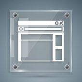 White Website template icon isolated on grey background. Internet communication protocol. Square glass panels. Vector Illustration