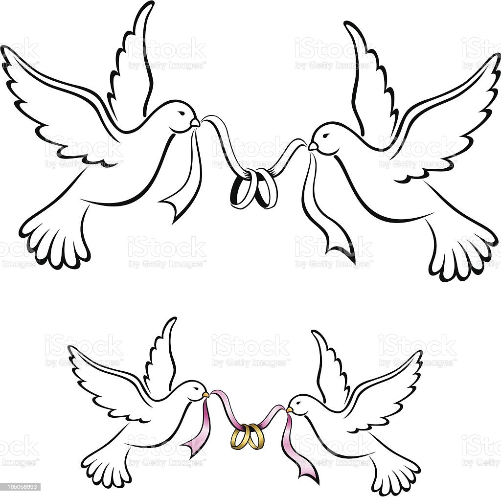Ilustrao de pombos com anis de casamento branco e mais banco de aliana de casamento aliana de noivado animal casado casamento altavistaventures Image collections