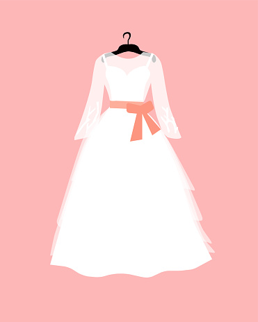 White wedding dress on a pink background, vector grafif