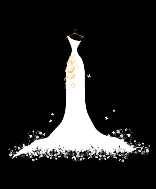 White wedding dress with gold ensemble on hanger See more in my lightbox:  wedding dress stock illustrations