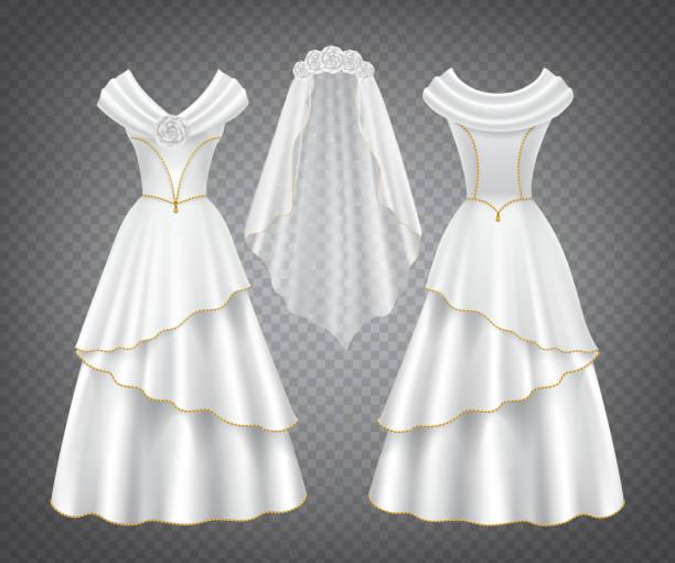 Weiße Hochzeit Frau Kleid mit Tüll Schleier – Vektorgrafik