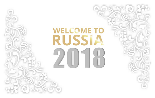 White welcome to Russia 2018 background.