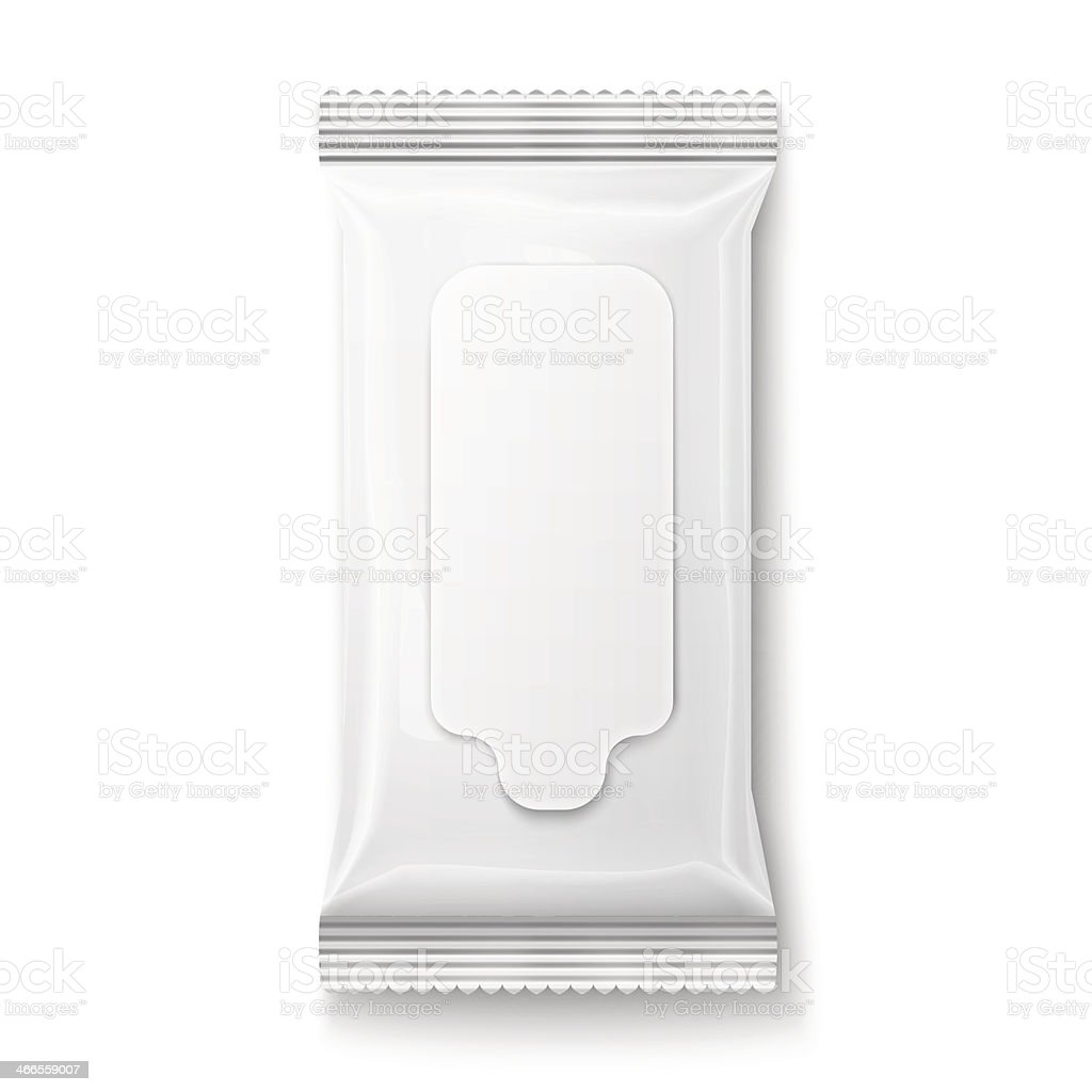 White wet wipes package with flap. vector art illustration