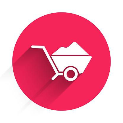 White Wheelbarrow with dirt icon isolated with long shadow. Tool equipment. Agriculture cart wheel farm. Red circle button. Vector Illustration