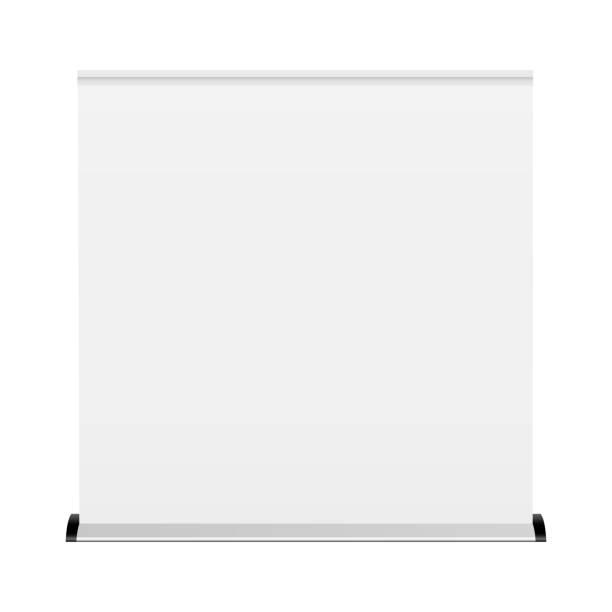 weiße breite leere rollup-banner-mock-up - breit stock-grafiken, -clipart, -cartoons und -symbole