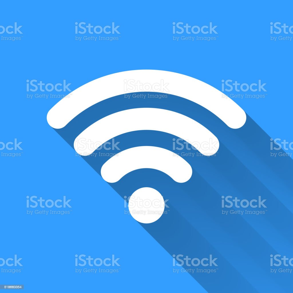 White WiFi icon with long shadow on blue vector art illustration