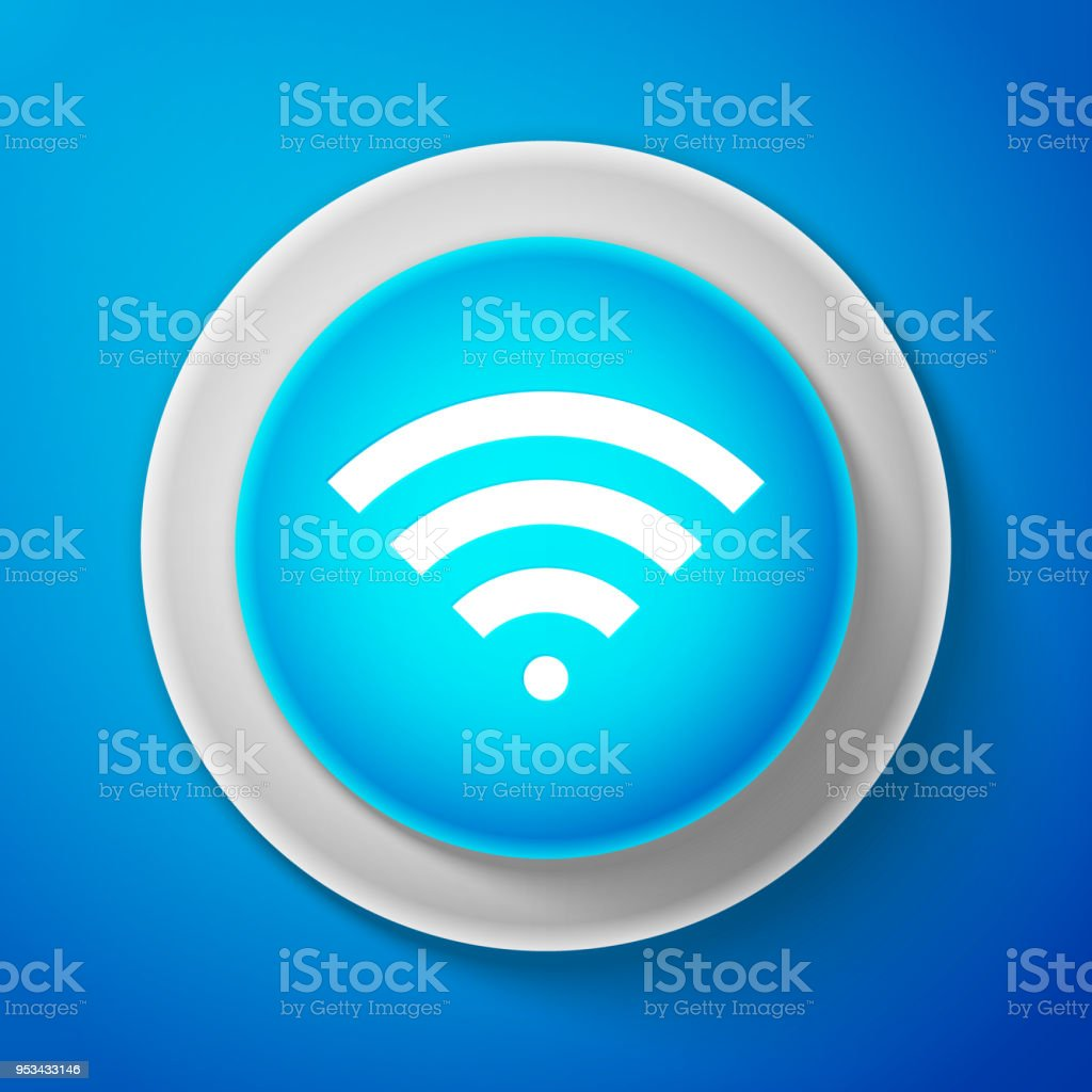 white wifi wireless internet network symbol icon isolated on blue