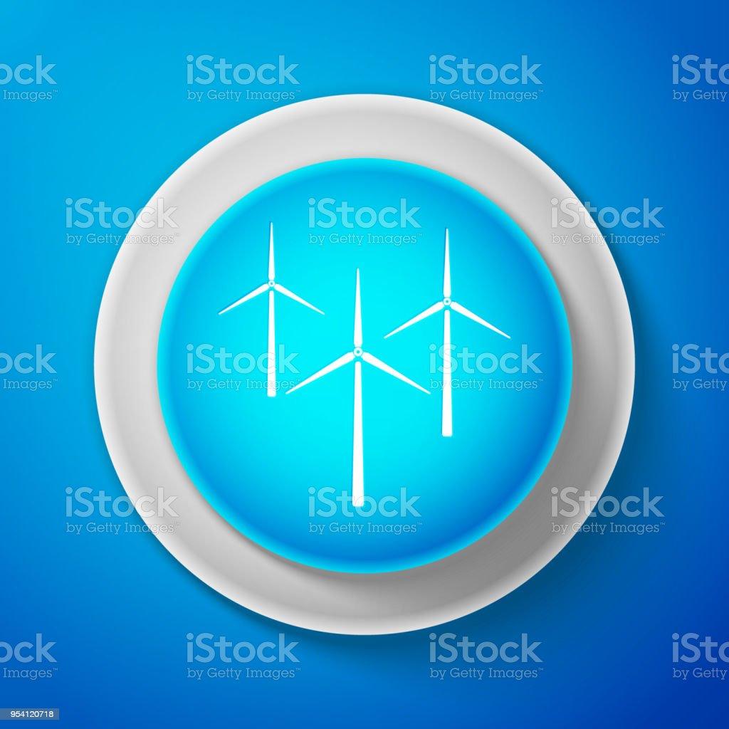 White Wind Turbine Icon Isolated On Blue Background Wind
