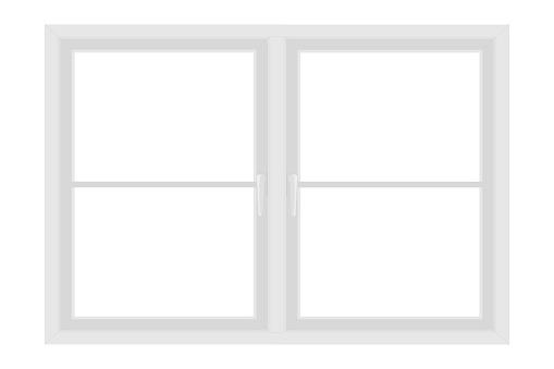 White window frame isolated on white background