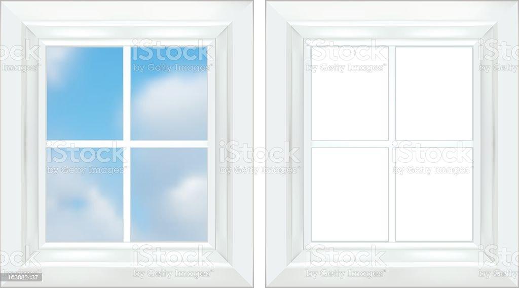 White Window Frame vector art illustration