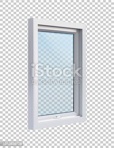istock White window in side projection on transparent background vector illustration 1312639728