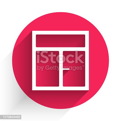 White Window in the room icon isolated with long shadow. Red circle button. Vector Illustration