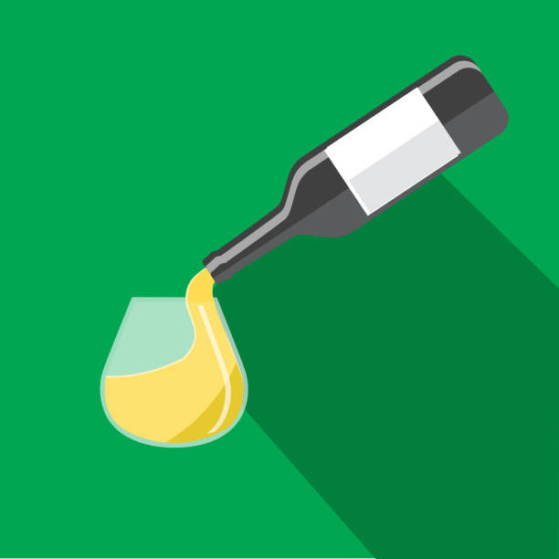 White wine being poured into a stemless wine glass Flat Design themed Icon Set with shadow vector art illustration