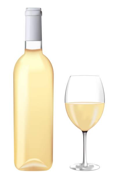 bildbanksillustrationer, clip art samt tecknat material och ikoner med vitt vin flaska med glas - vitt vin glas