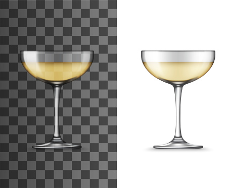 White wine glass, champagne coupe realistic mockup