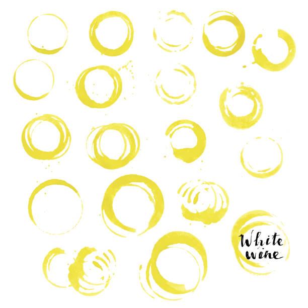 bildbanksillustrationer, clip art samt tecknat material och ikoner med vitt vin glas utskrifter. gula cirklar, fläckar, droppar. för vinlista en förpackningsdesign. - vitt vin glas