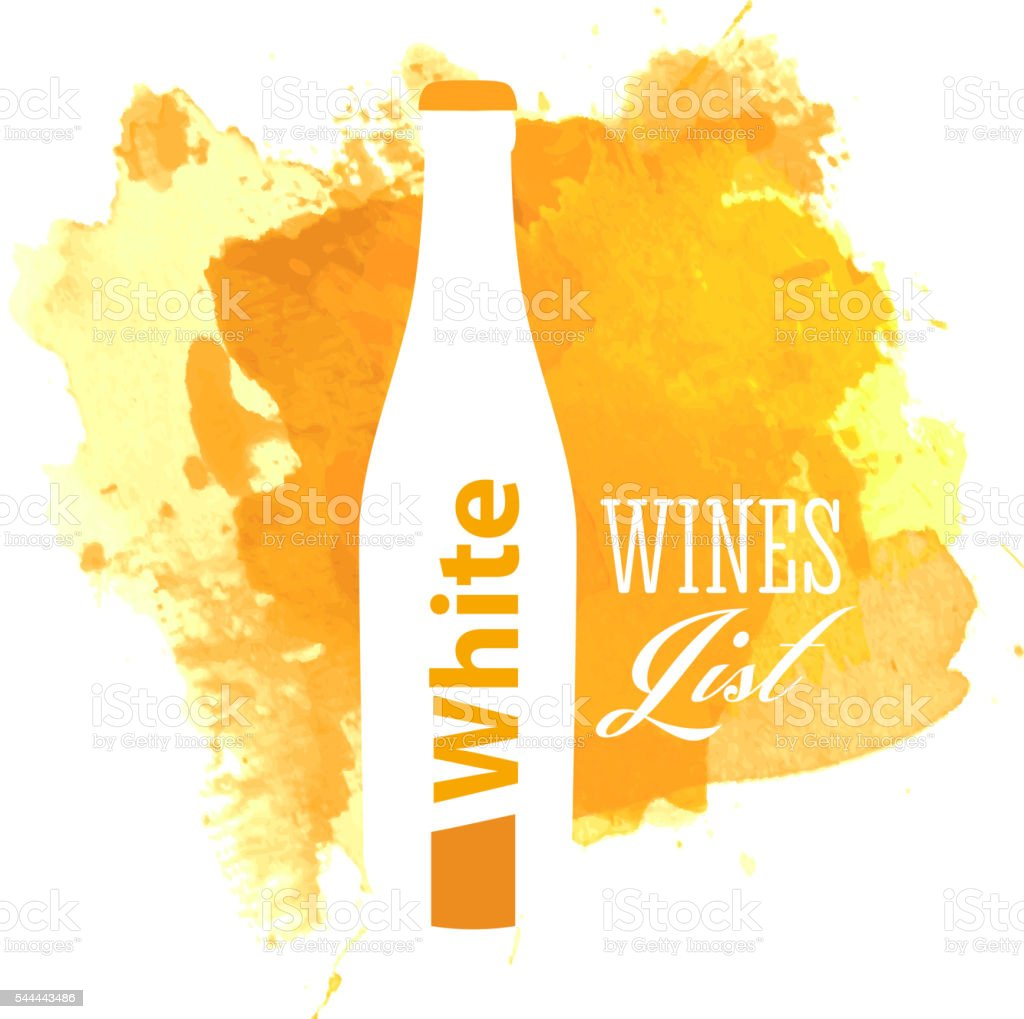 White wine list cover with watercolor background vector art illustration