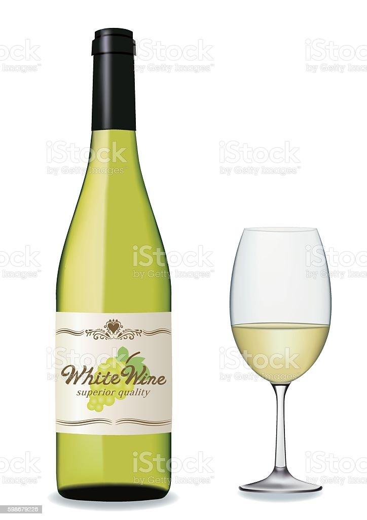 White wine set vector art illustration
