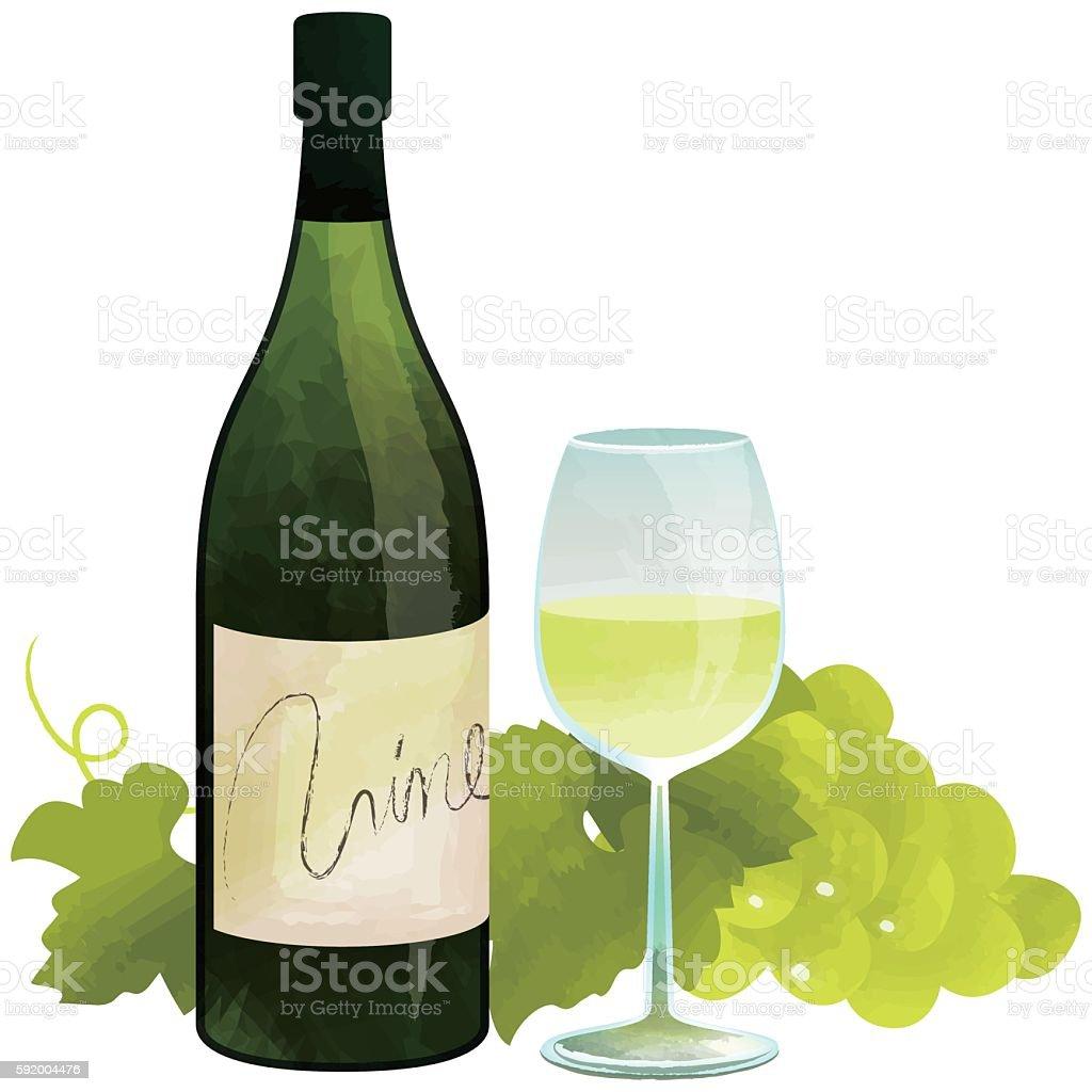 白ワイン ベクターアートイラスト