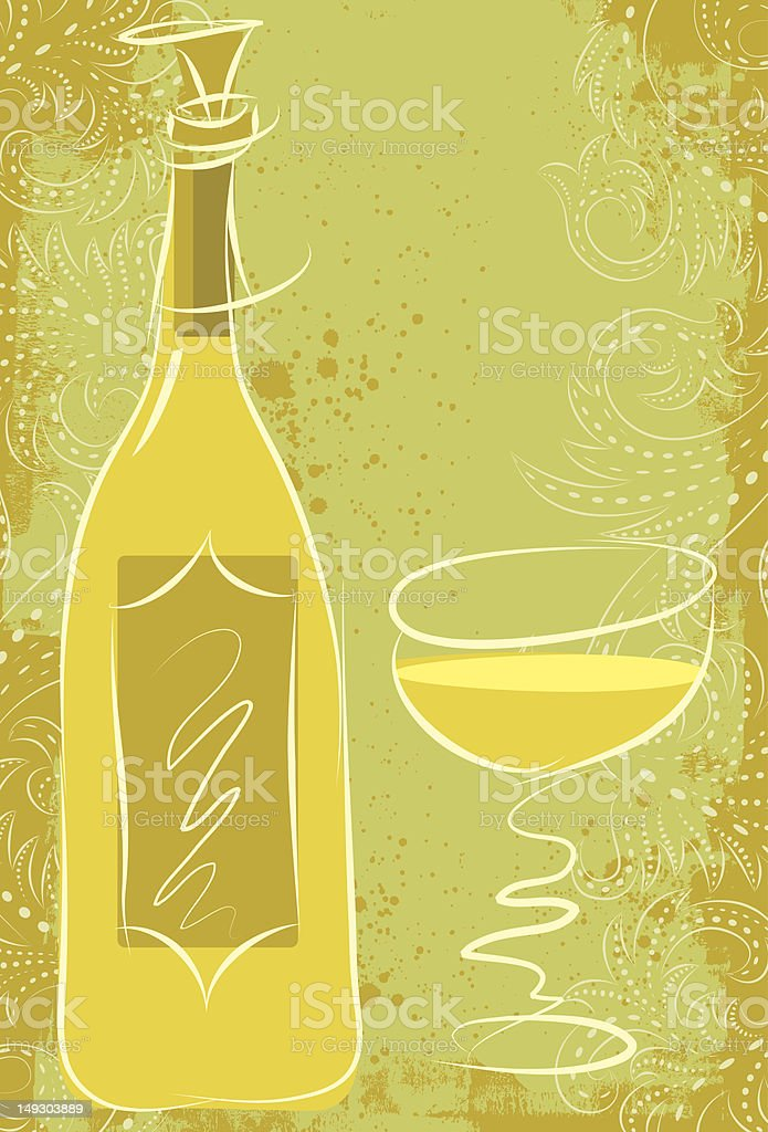 white wine with scrollwork vector art illustration