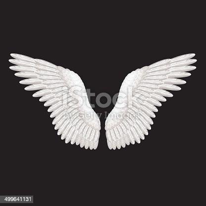istock White wings on black vector illustration 499641131