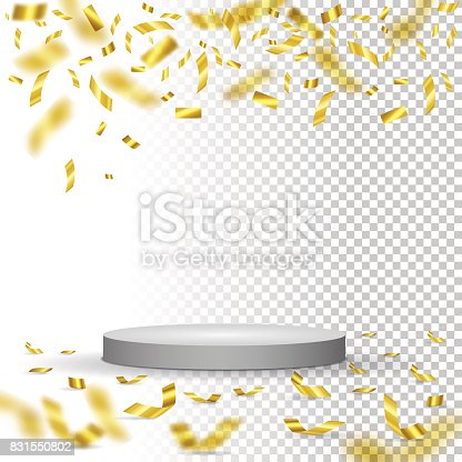 White winner podium with falling golden confetti. Vector illustration.