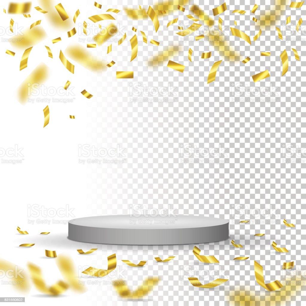 White winner podium with falling golden confetti. Vector illustration. vector art illustration