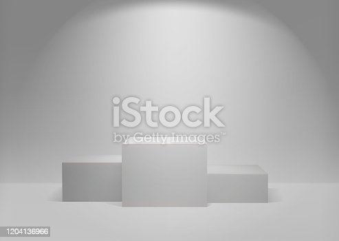 White winners podium 3D render. Awarding of winners of sports competitions. Square realistic pedestal. Vector Illustration