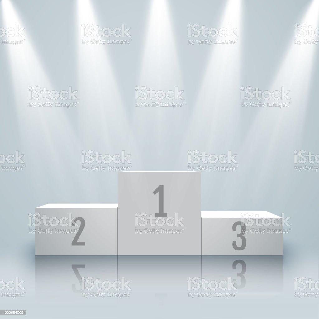 White winners podium with spotlights and confetti. Vector. vector art illustration
