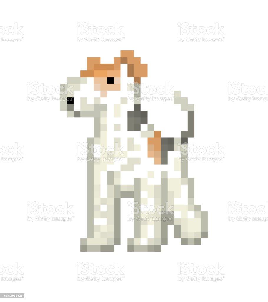 Fil Blanc Fox Terrier Caractère Dart Pixel Isolé Sur Fond