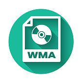 White WMA file document icon. Download wma button icon isolated with long shadow. WMA file symbol. Wma music format sign. Green circle button. Vector Illustration