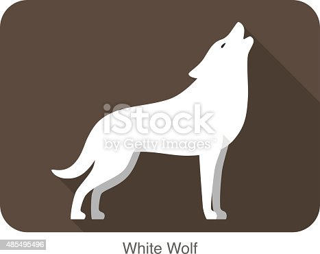 White wolf standing and roaring