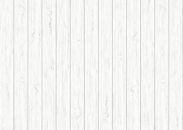 White wood plank texture background vector art illustration
