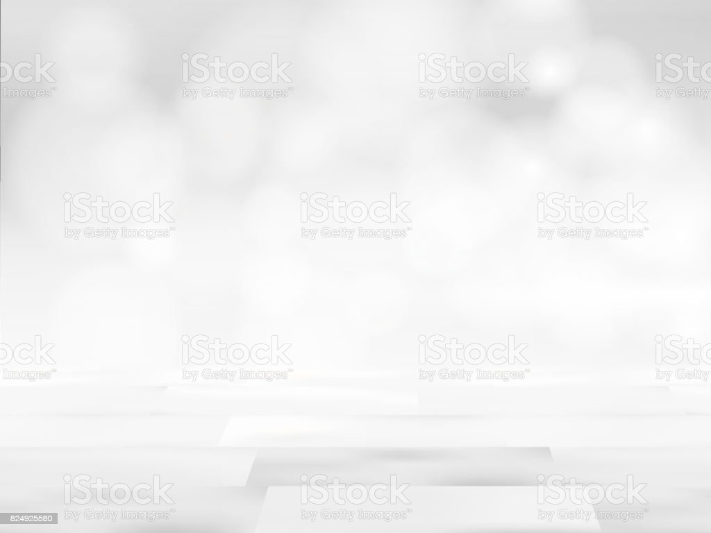white table top background. white wood table top on blurred abstract background from building hallway. vector illustration.