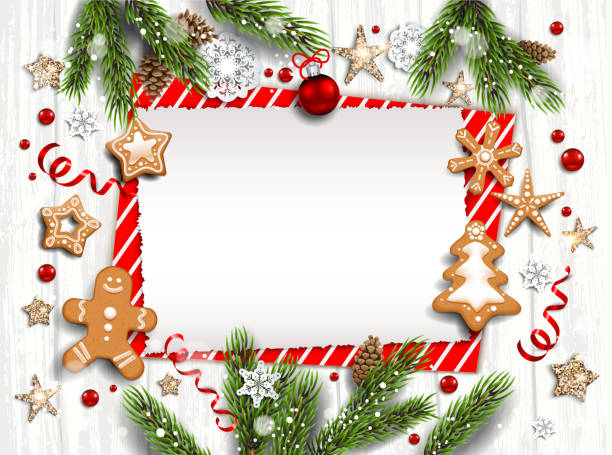 bildbanksillustrationer, clip art samt tecknat material och ikoner med vit trä mall kort - christmas card