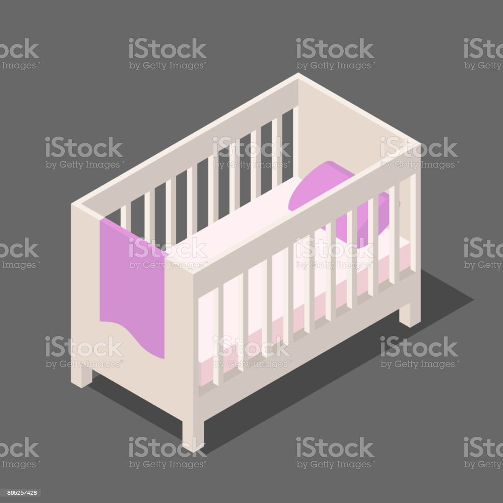 white wooden baby bed with mattress pillow and blanket in isometric vector art illustration