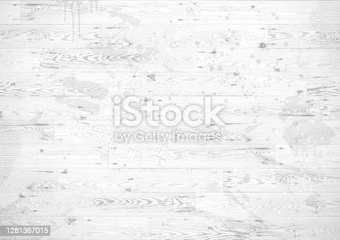 White wooden boards textured vector illustration background