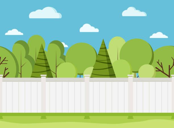 stockillustraties, clipart, cartoons en iconen met witte houten hek met bomen. modern landelijk wit hek met groen gras. - fence