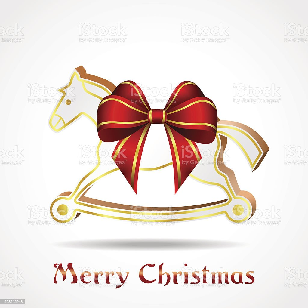 white wooden horse with red ribbon vector art illustration