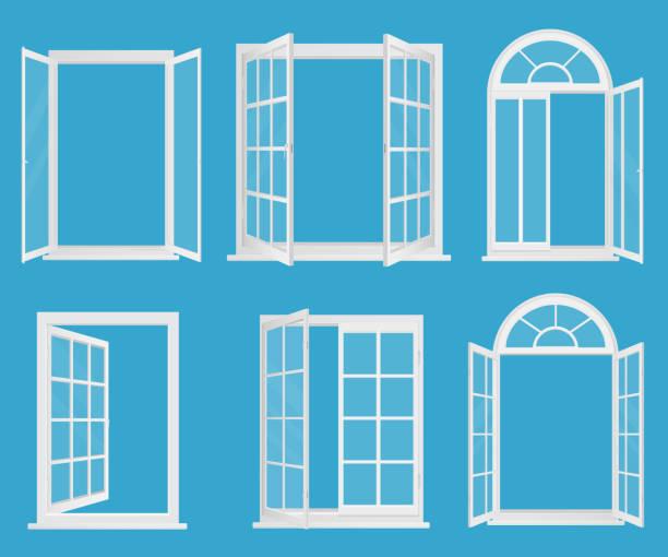 White wooden plastic realistic windows set with transperant glass vector illustration. vector art illustration