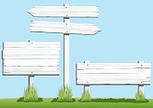 Collection of three white wooden signs, of varying shapes and sizes. Space on each sign for copy or text. Artwork on editable and separate layers, grass and sky are removable. Download includes an AI8 EPS vector file and a high resolution JPEG file (min. 1900 x 2800 pixels).