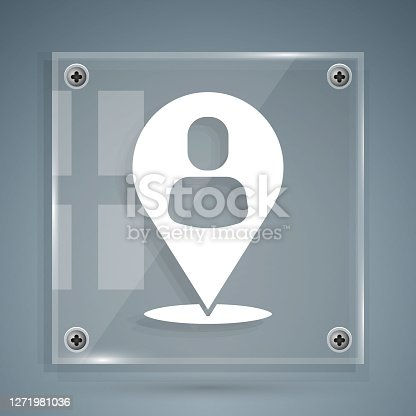 istock White Worker location icon isolated on grey background. Square glass panels. Vector 1271981036