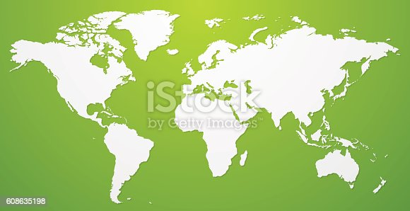 white world map illustration on green background vector template