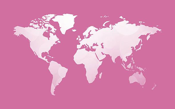 white world map on pink vector art illustration
