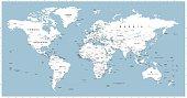 White World Map on Round Blue Waves Background